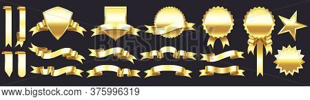 Gold Banner With Ribbons. Shapes For Gift, Accessory And Tag. Festive Shining Tape, Tag, Star And Me