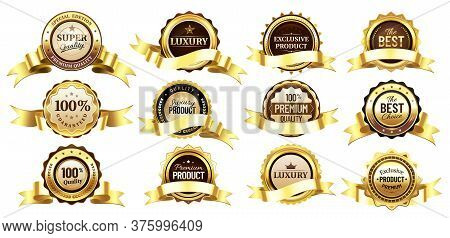 Luxury Golden Badges With Tapes Or Ribbons. Reward For Premium Or Super Quality. Best Choice, Exclus