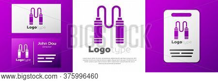 Logotype Jump Rope Icon Isolated On White Background. Skipping Rope. Sport Equipment. Logo Design Te