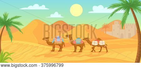 Desert Camel. Caravan In Egypt Sahara Landscapes. Cartoon Arabic Panoramic Vector Background With Sa