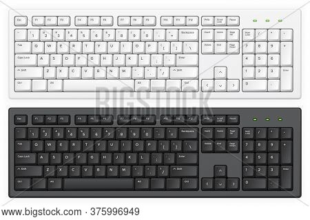 Keyboard. Pc White And Black Key Buttons With English Qwerty Alphabet Realistic Vector Isolated Temp
