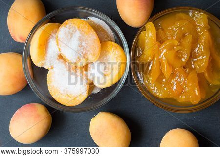 Apricot Halves With Sugar And Jam In Glass Bowls. Steps For Making Apricot Jam. Top View.