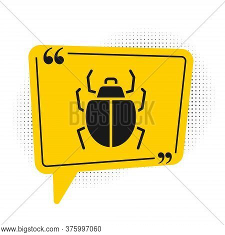 Black Mite Icon Isolated On White Background. Yellow Speech Bubble Symbol. Vector
