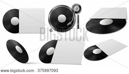 Vinyl Record Mockup. Realistic Black Vinyl Disc With Cover From Different Angles, Music Object For D