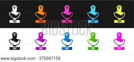 Set Ancient Bust Sculpture Icon Isolated On Black And White Background. Vector