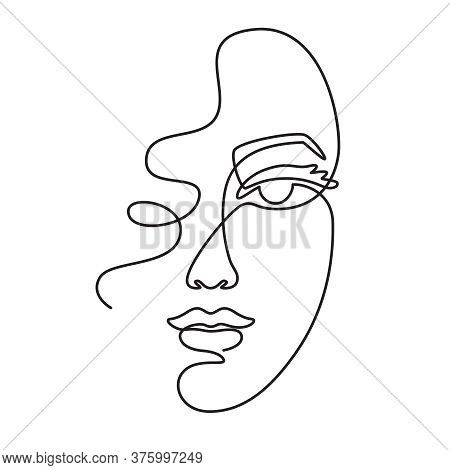 One Line Face. Minimalist Continuous Linear Sketch Woman Face. Female Portrait Black White Artwork O