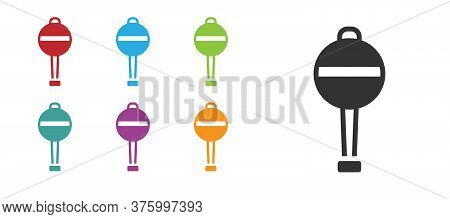 Black Rattle Baby Toy Icon Isolated On White Background. Beanbag Sign. Set Icons Colorful. Vector