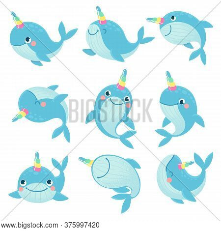 Whale Unicorn. Cute Marine Inhabitants Colorful Adorable Whales Unicorns, Funny Animals Childrens An