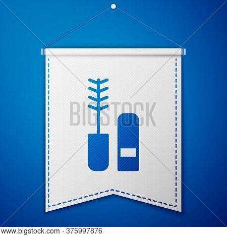 Blue Mascara Brush Icon Isolated On Blue Background. White Pennant Template. Vector