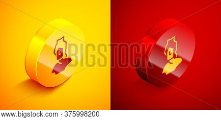 Isometric Ancient Bust Sculpture Icon Isolated On Orange And Red Background. Circle Button. Vector