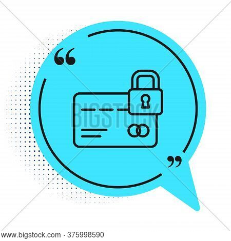 Black Line Credit Card With Lock Icon Isolated On White Background. Locked Bank Card. Security, Safe