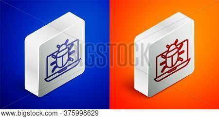 Isometric Line System Bug On Monitor Icon Isolated On Blue And Orange Background. Code Bug Concept.