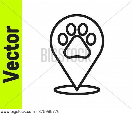 Black Line Map Pointer With Veterinary Medicine Hospital, Clinic Or Pet Shop For Animals Icon Isolat