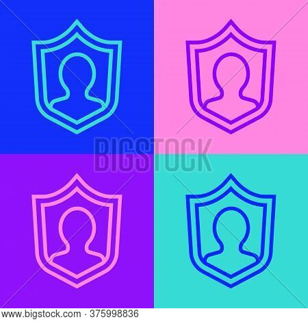 Pop Art Line User Protection Icon Isolated On Color Background. Secure User Login, Password Protecte