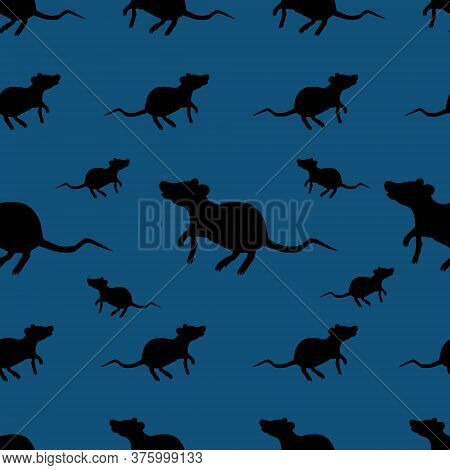 Black Rat. Seamless Vector Pattern. Rodent On An Isolated Blue Background. Silhouette. Peddler Of Pl