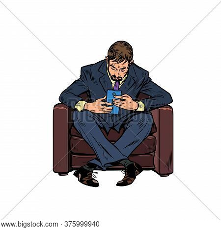 A Male Businessman Uses A Smartphone. Pop Art Retro Vector Illustration Kitsch Vintage 50s 60s Style