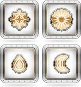 Weather Icons Set pictured here from left to right top to bottom: Snow Sun Rain Moon. poster