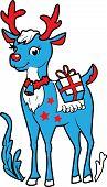 Xmas celebration reindeer Rudolf vector illustration for your design poster