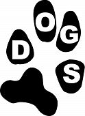 paw print with the word dogs inside the pads of the print poster
