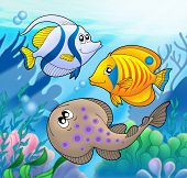 Cute marine animals 2 in water - color illustration. poster
