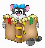 Grey cat with old brown book - color illustration. poster