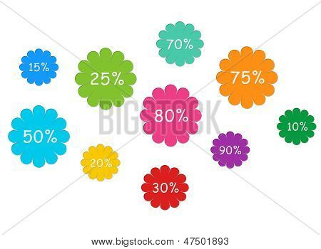 Colorful labels with discounts