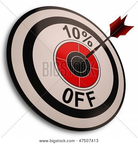 10 Percent Off Shows Reduction In Price