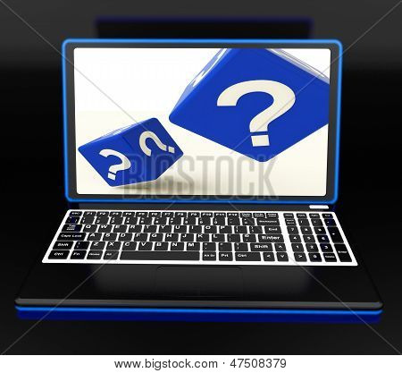 Question Mark On Laptop Showing Confusion