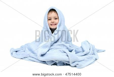 Child After Bath Sitting On Bed