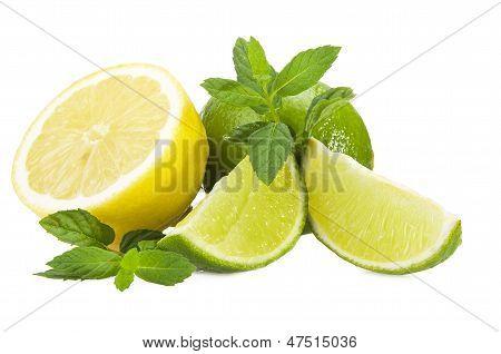 Lime lemon and fresh leaves of mint