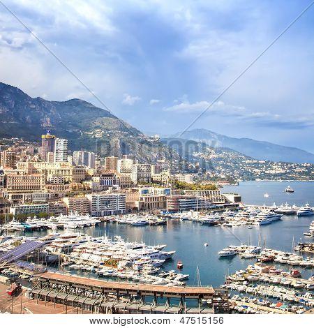 Monaco Montecarlo Principality Aerial Harbor View. Azure Coast. France