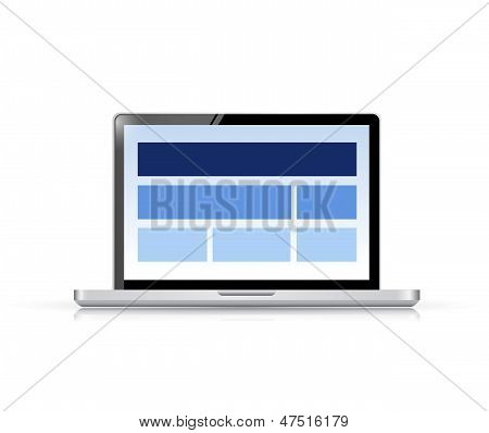 Website Layout On A Computer Screen.