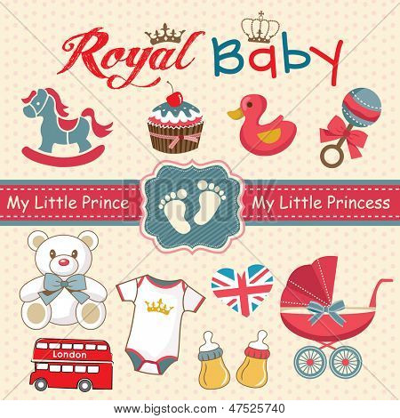 Set of retro style design elements for royal baby