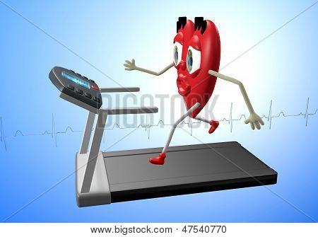 Heart Character On Treadmill