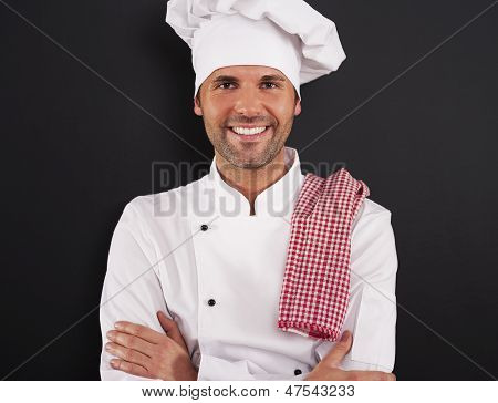 Portrait of handsome cooking chef