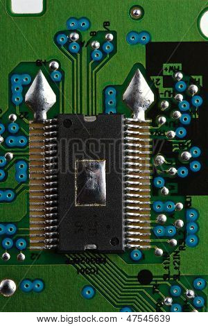 Microchip On Green Printed Circuit Board