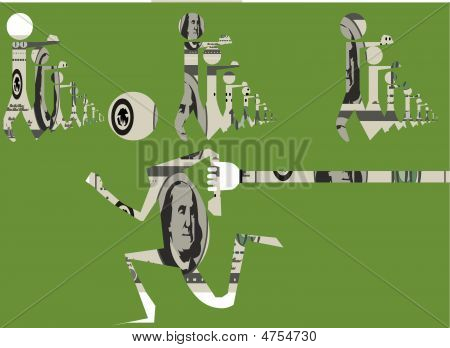 marching 100 dollar bills in person form mind control one tries to escape the system and is grabbed by a hand covered with the pattern of benjamin franklin currency poster