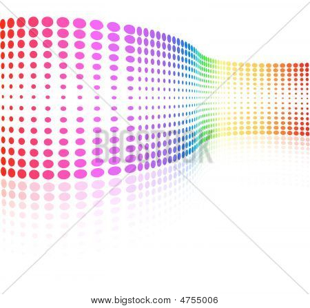 Vector - rainbow colored half-tone wave with pale reflection poster