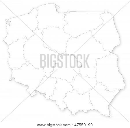 Vector Map Of Poland With Voivodeships