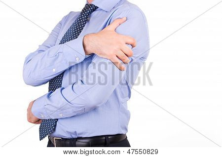 Image of Business man with heart attack. poster