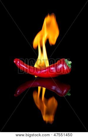 Red Chilli On Black Surface With Flames