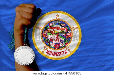 Silver Medal For Sport And  Flag Of American State Of Minnesota