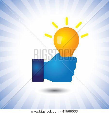 Creative, Smart & Intelligent Person With Idea(bulb)- Vector Graphic