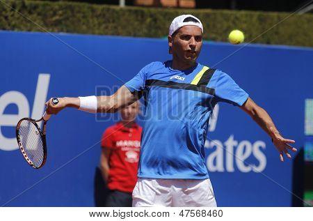 BARCELONA - APRIL, 24: Spanish tennis player Albert Monta�±es during  a match of Barcelona tennis tournament Conde de Godo on April 24, 2013 in Barcelona