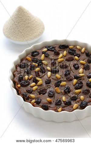 italian chestnut cake(castagnaccio) and italian chestnut flour (farina di castagne) poster