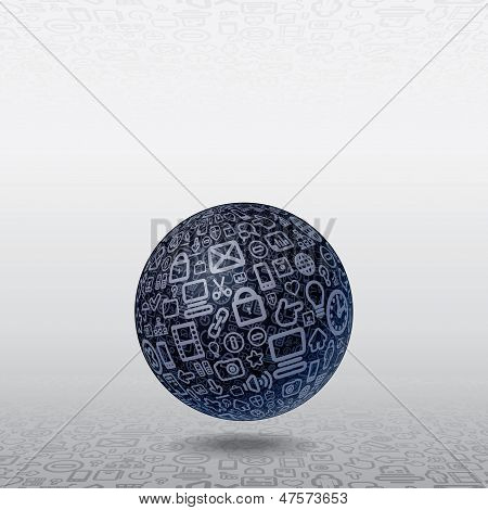 poster of Social Media Concept. Spherical Planet made of Interface, Web, Icons.
