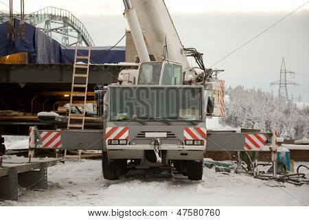 100 Ton Crane At The Construction Of The Bridge