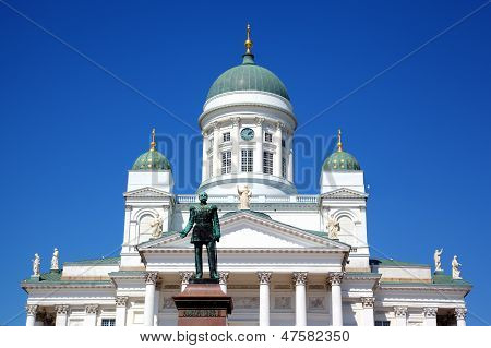 View of Tuomiokirkko Cathedral church in Helsinki, Finland poster