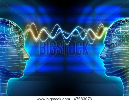 Two people communicating by telepathy. Digital illustration.