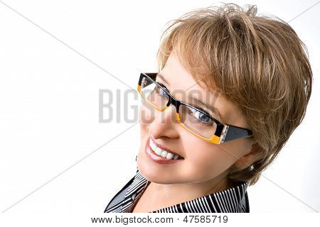 Portrait Of The Business Woman With Upper Forshortening On White Background